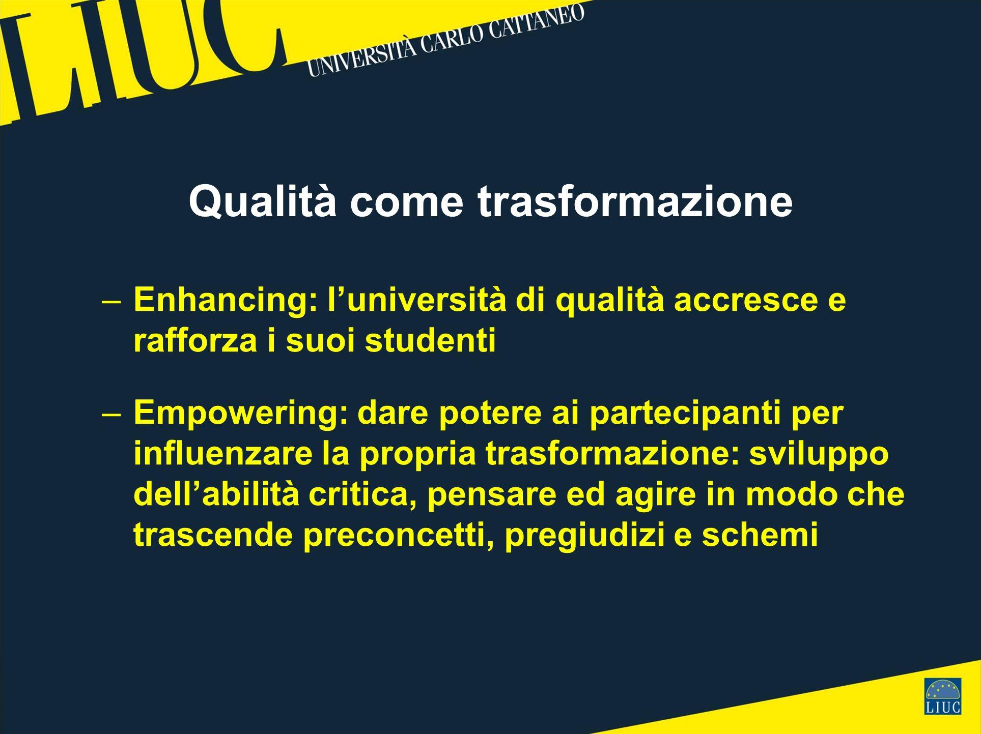Qualità come trasformazione –Enhancing: luniversità di qualità accresce e rafforza i suoi studenti –Empowering: dare potere ai partecipanti per influe