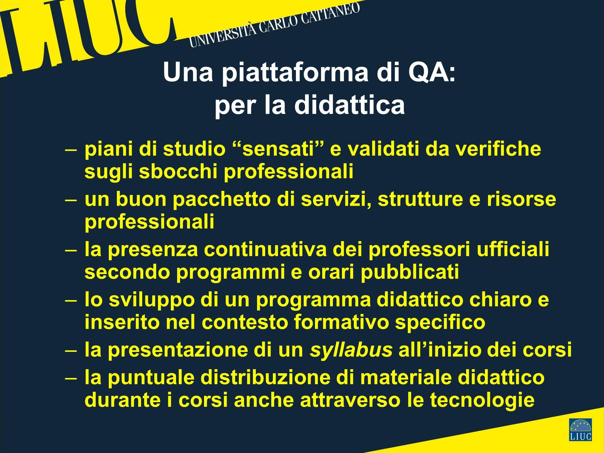 Una piattaforma di QA: per la didattica –piani di studio sensati e validati da verifiche sugli sbocchi professionali –un buon pacchetto di servizi, st