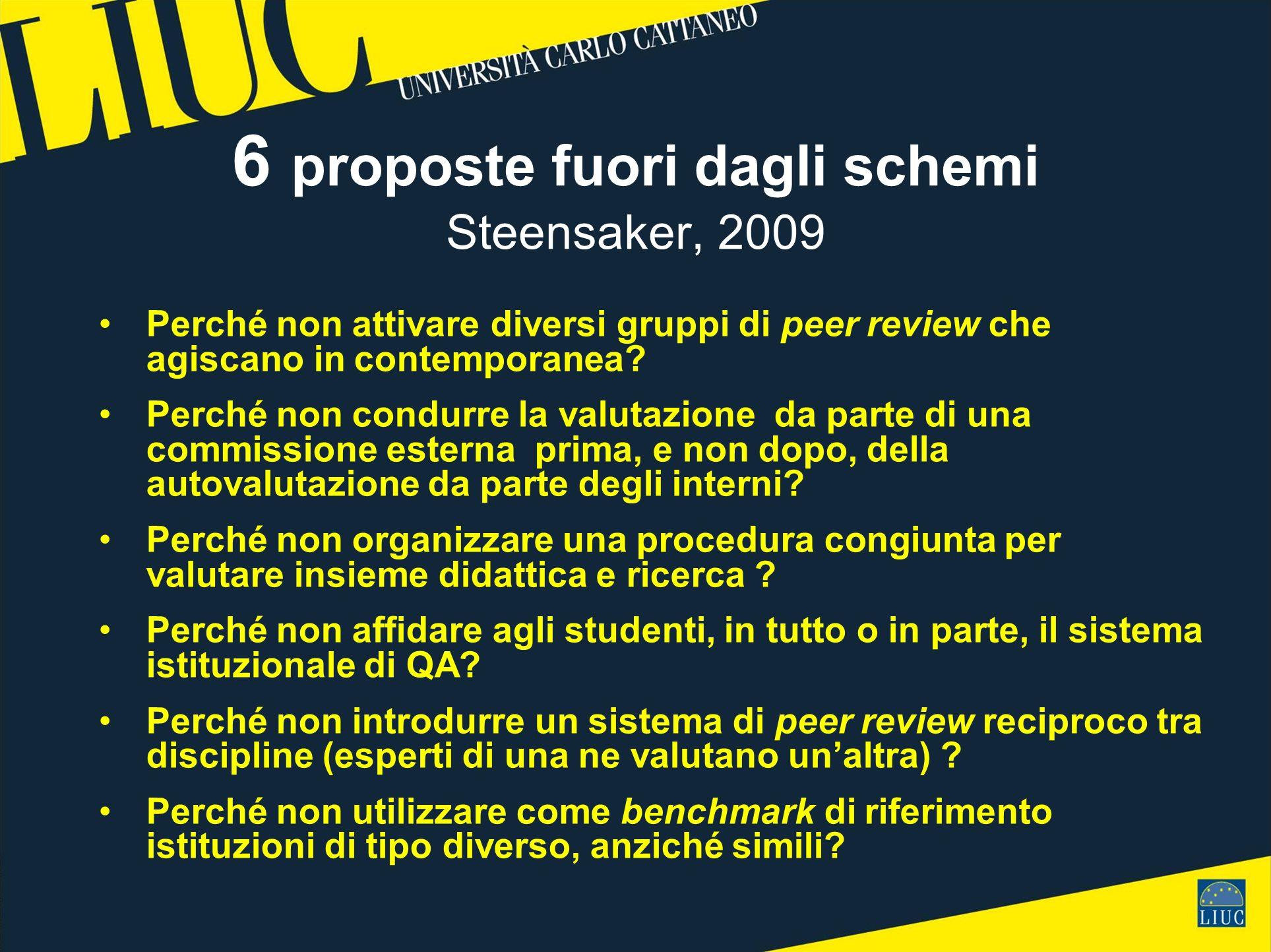 6 proposte fuori dagli schemi Steensaker, 2009 Perché non attivare diversi gruppi di peer review che agiscano in contemporanea.