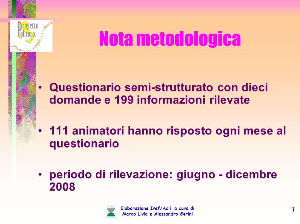 Elaborazione Iref/Acli a cura di Marco Livia e Alessandro Serini 7 Nota metodologica Questionario semi-strutturato con dieci domande e 199 informazioni rilevate 111 animatori hanno risposto ogni mese al questionario periodo di rilevazione: giugno - dicembre 2008