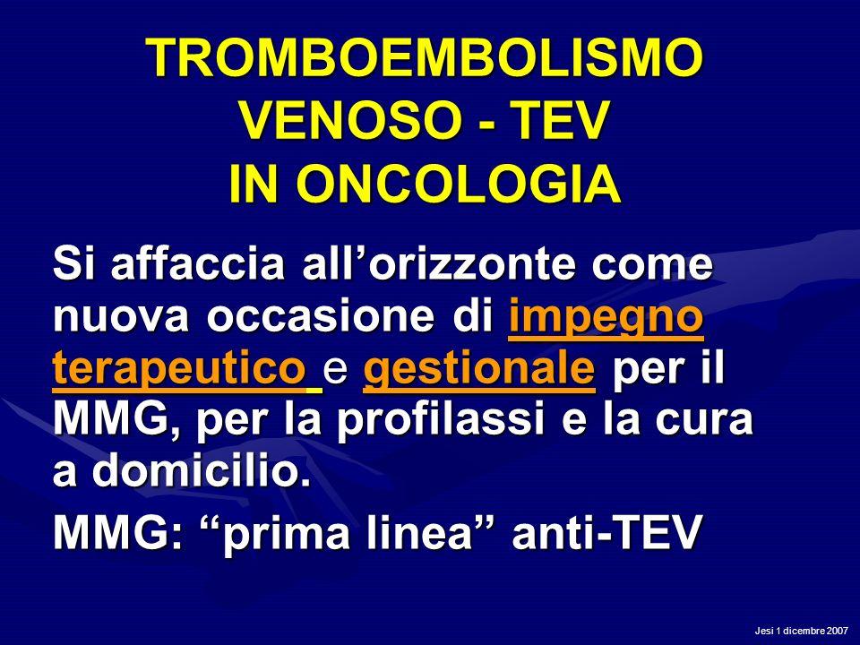 Jesi 1 dicembre 2007 TROMBOEMBOLISMO VENOSO - TEV IN ONCOLOGIA Si affaccia allorizzonte come nuova occasione di impegno terapeutico e gestionale per i