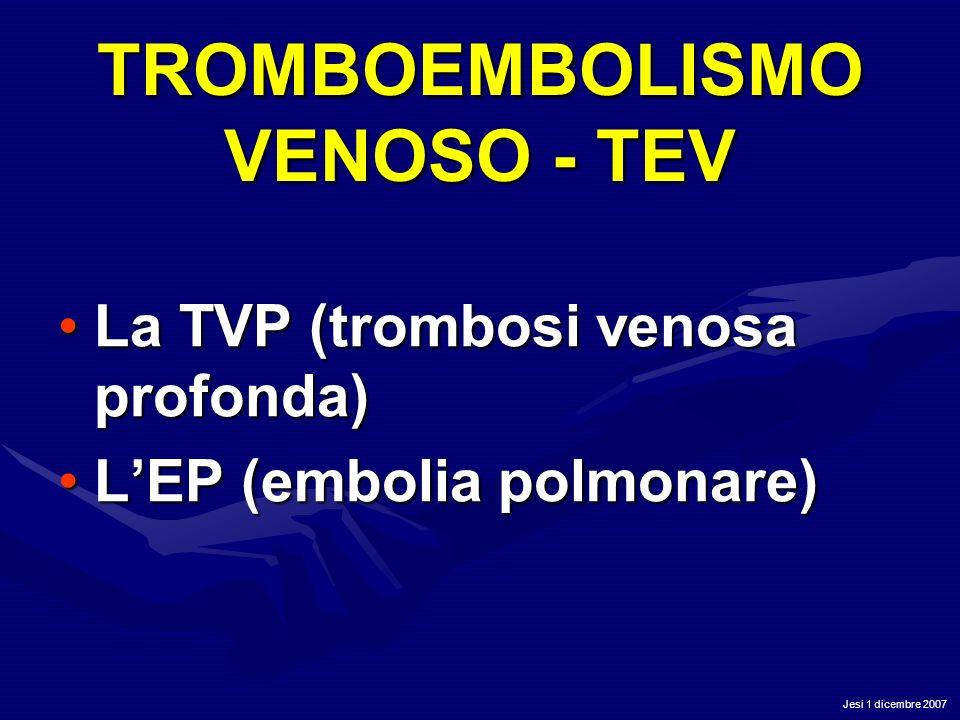Jesi 1 dicembre 2007 TROMBOEMBOLISMO VENOSO - TEV La TVP (trombosi venosa profonda)La TVP (trombosi venosa profonda) LEP (embolia polmonare)LEP (embol