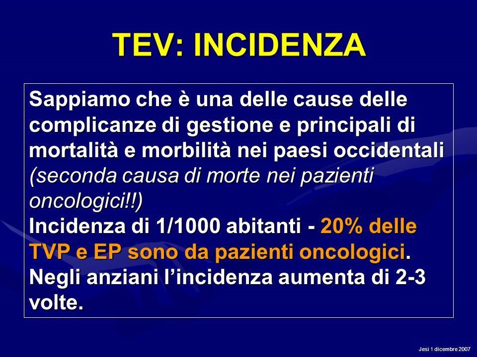 Jesi 1 dicembre 2007 TEV: INCIDENZA Sappiamo che è una delle cause delle complicanze di gestione e principali di mortalità e morbilità nei paesi occid