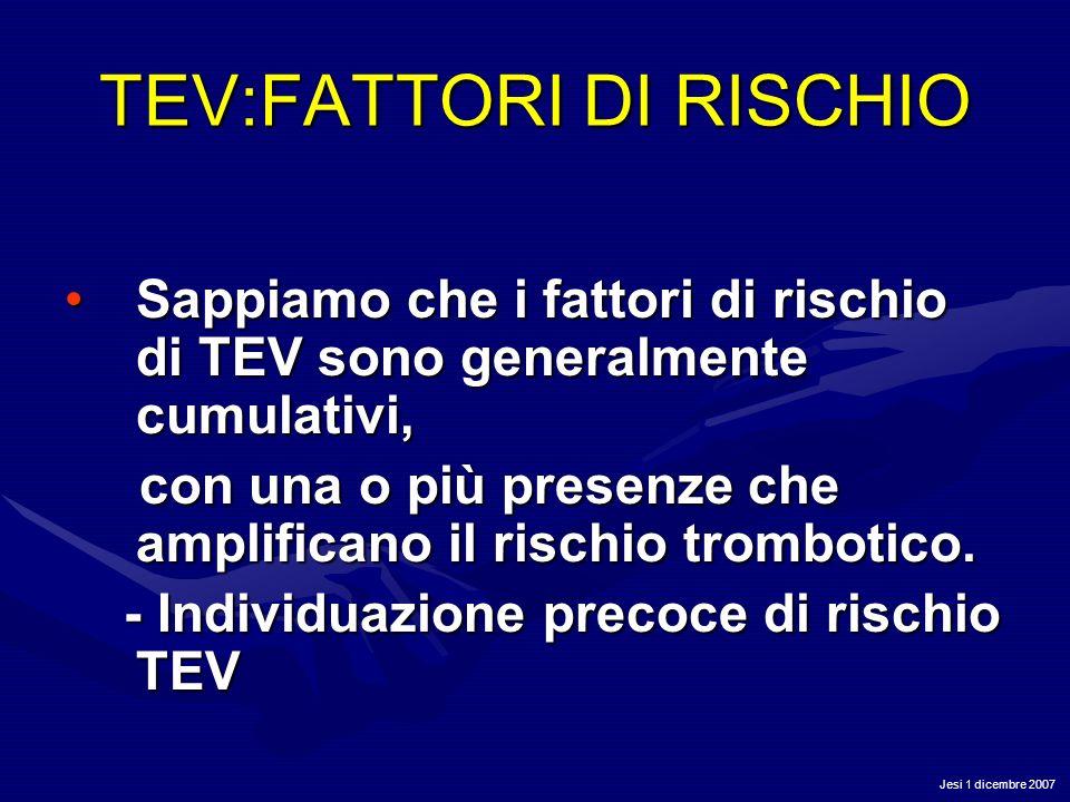 Jesi 1 dicembre 2007 TEV:FATTORI DI RISCHIO Sappiamo che i fattori di rischio di TEV sono generalmente cumulativi,Sappiamo che i fattori di rischio di