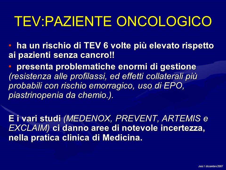 TEV:PAZIENTE ONCOLOGICO ha un rischio di TEV 6 volte più elevato rispetto ai pazienti senza cancro!! ha un rischio di TEV 6 volte più elevato rispetto