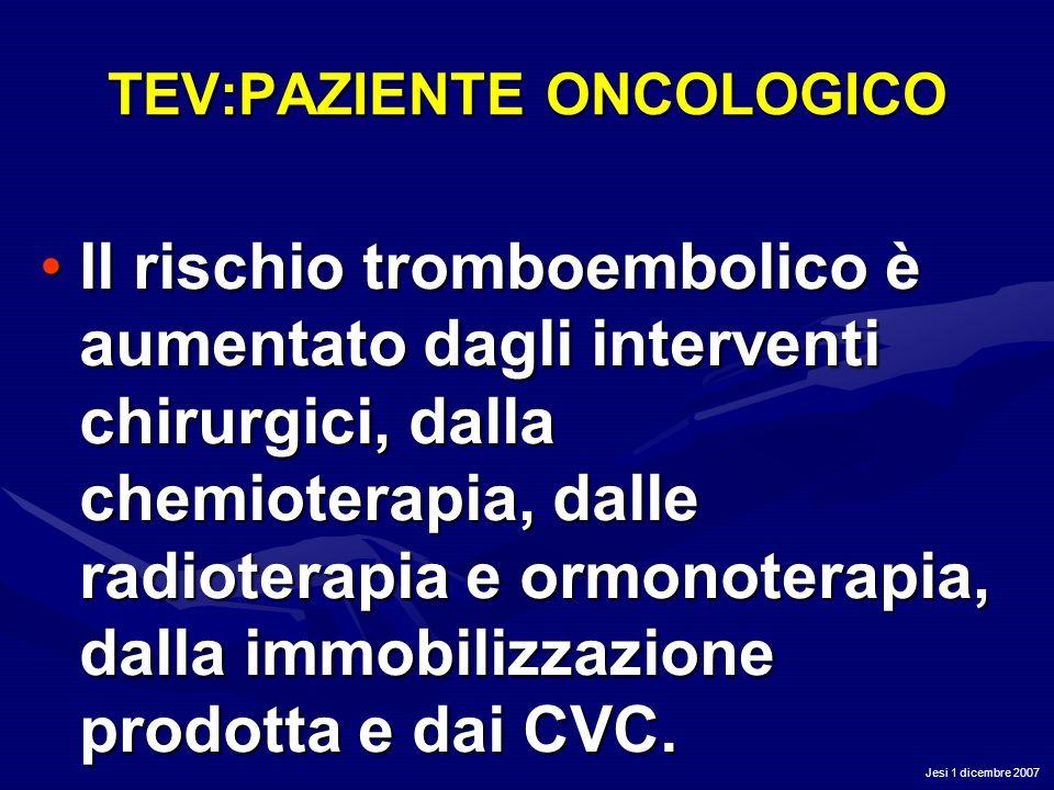 Jesi 1 dicembre 2007 TEV:PAZIENTE ONCOLOGICO Il rischio tromboembolico è aumentato dagli interventi chirurgici, dalla chemioterapia, dalle radioterapi