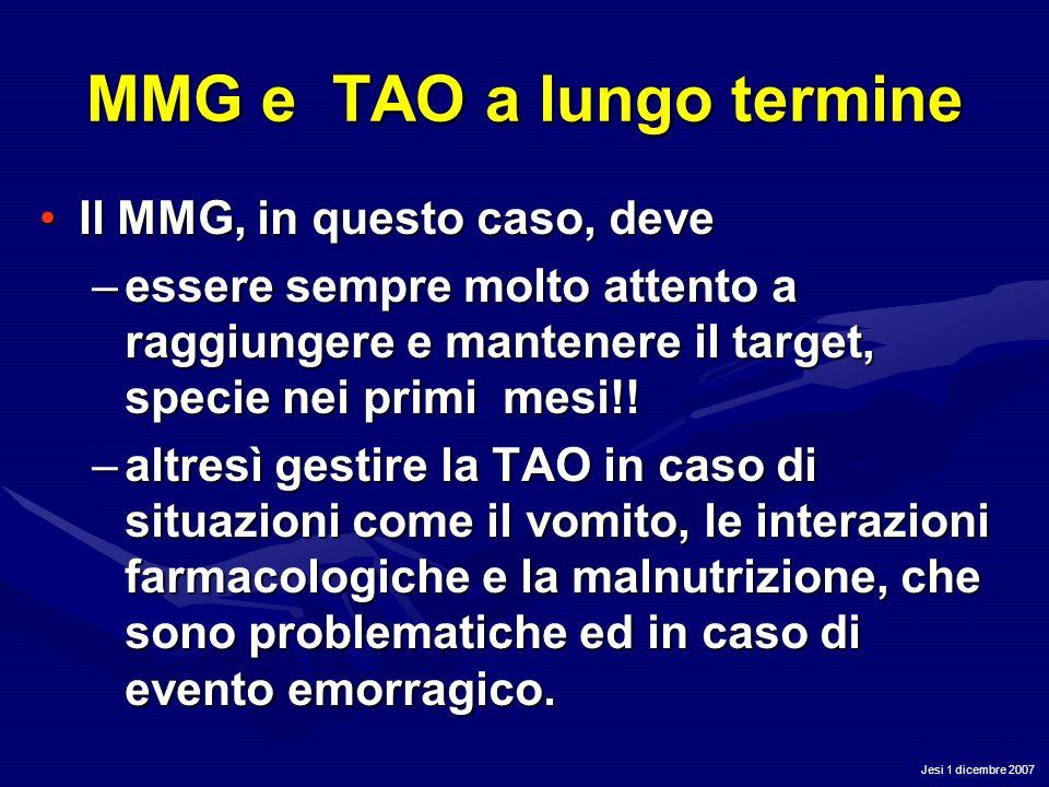 Jesi 1 dicembre 2007 MMG e TAO a lungo termine Il MMG, in questo caso, deveIl MMG, in questo caso, deve –essere sempre molto attento a raggiungere e m