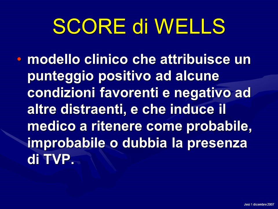 Jesi 1 dicembre 2007 SCORE di WELLS modello clinico che attribuisce un punteggio positivo ad alcune condizioni favorenti e negativo ad altre distraent