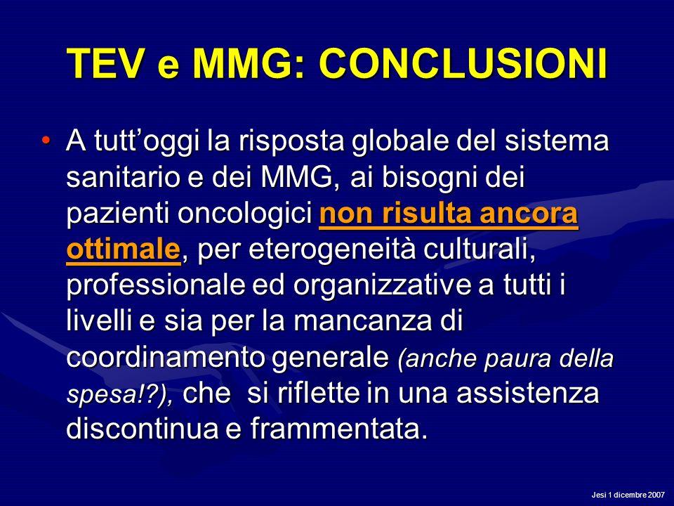 Jesi 1 dicembre 2007 TEV e MMG: CONCLUSIONI A tuttoggi la risposta globale del sistema sanitario e dei MMG, ai bisogni dei pazienti oncologici non ris