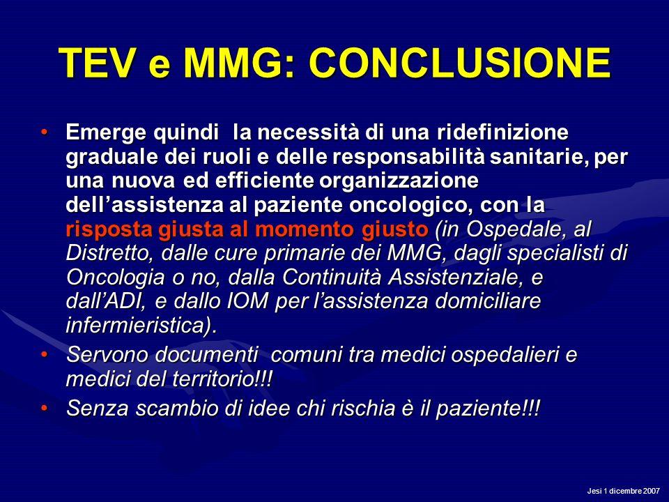 Jesi 1 dicembre 2007 TEV e MMG: CONCLUSIONE Emerge quindi la necessità di una ridefinizione graduale dei ruoli e delle responsabilità sanitarie, per u