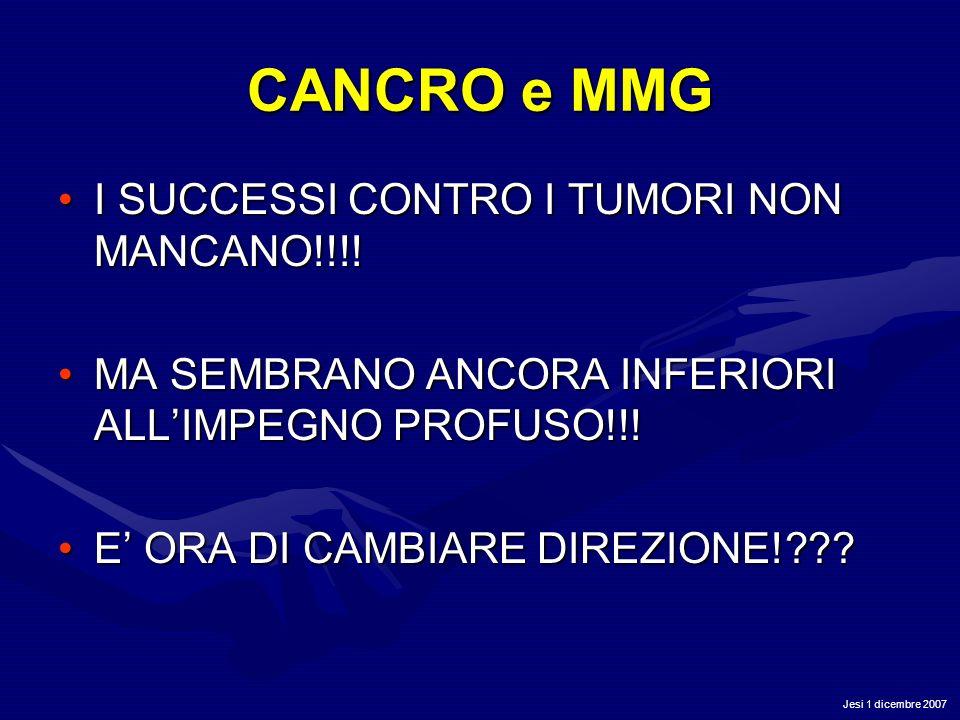 Jesi 1 dicembre 2007 CANCRO e MMG I SUCCESSI CONTRO I TUMORI NON MANCANO!!!!I SUCCESSI CONTRO I TUMORI NON MANCANO!!!! MA SEMBRANO ANCORA INFERIORI AL