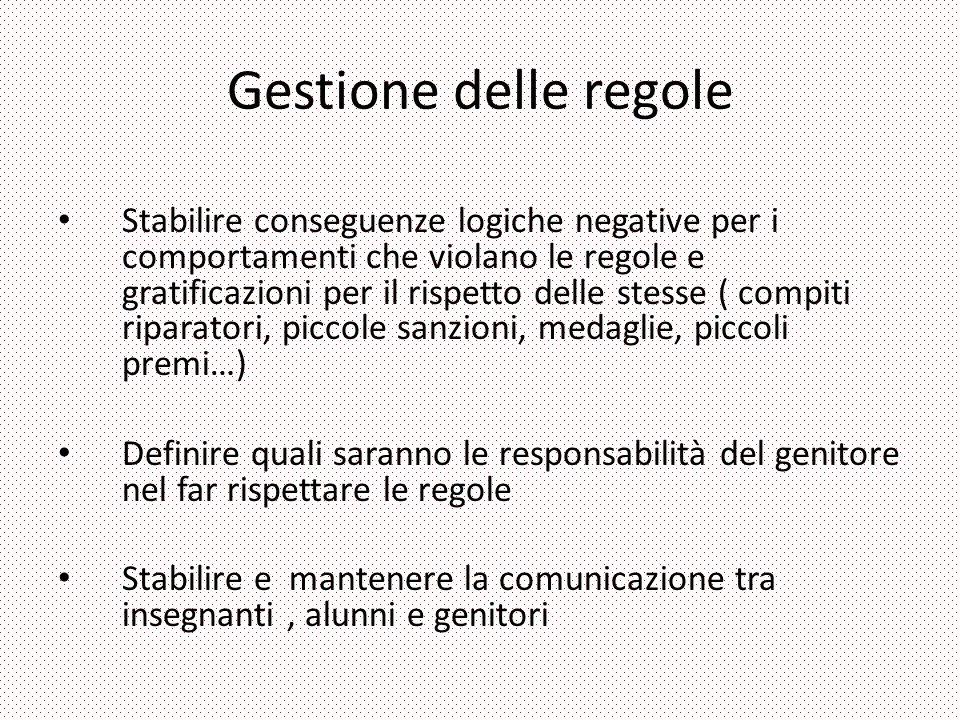 Gestione delle regole Stabilire conseguenze logiche negative per i comportamenti che violano le regole e gratificazioni per il rispetto delle stesse (