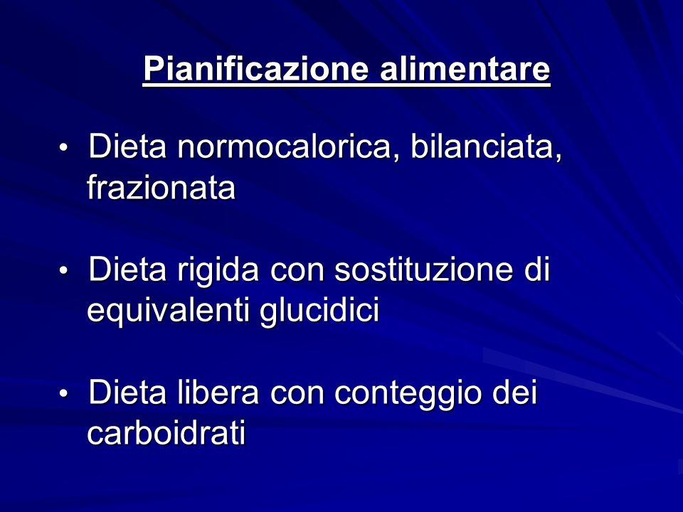 Pianificazione alimentare Dieta normocalorica, bilanciata, Dieta normocalorica, bilanciata, frazionata frazionata Dieta rigida con sostituzione di Die