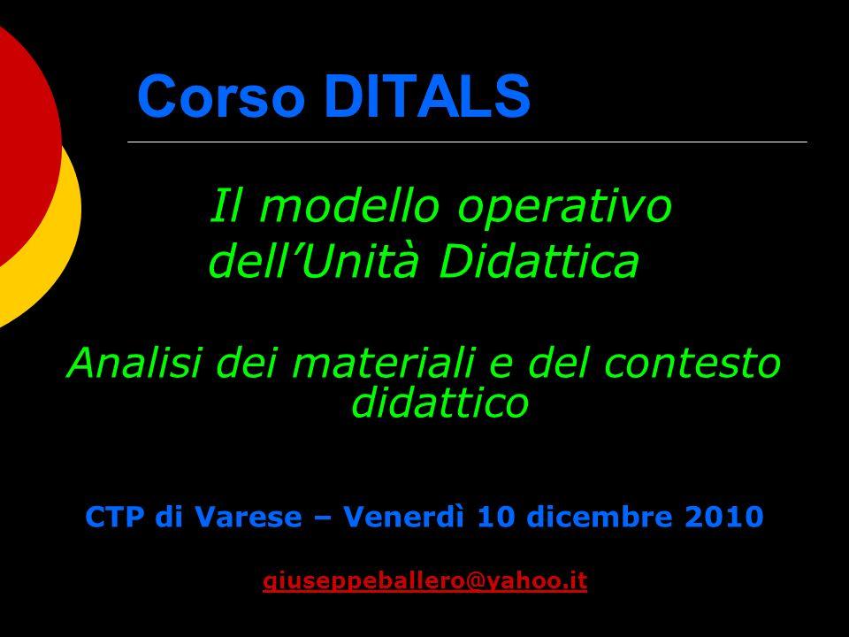 Corso DITALS Il modello operativo dellUnità Didattica Analisi dei materiali e del contesto didattico CTP di Varese – Venerdì 10 dicembre 2010 giuseppe