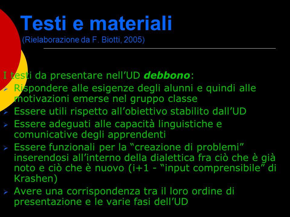 Testi e materiali (Rielaborazione da F. Biotti, 2005) I testi da presentare nellUD debbono: Rispondere alle esigenze degli alunni e quindi alle motiva