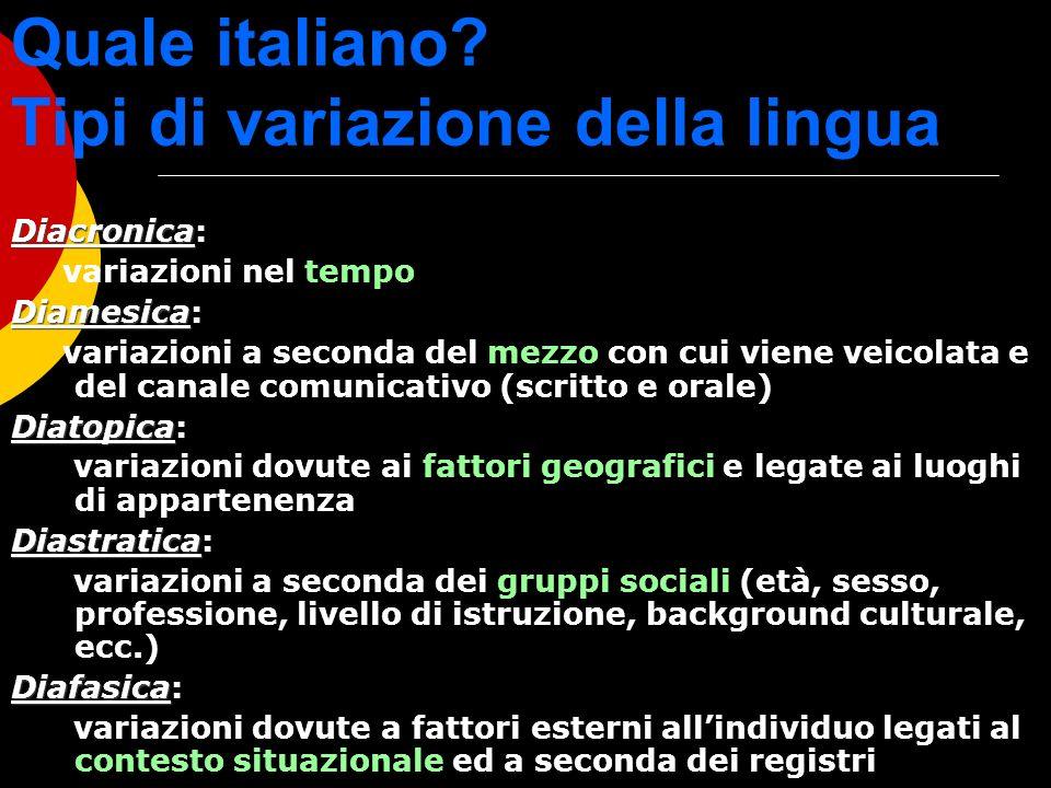 Quale italiano? Tipi di variazione della lingua Diacronica Diacronica: variazioni nel tempo Diamesica Diamesica: variazioni a seconda del mezzo con cu