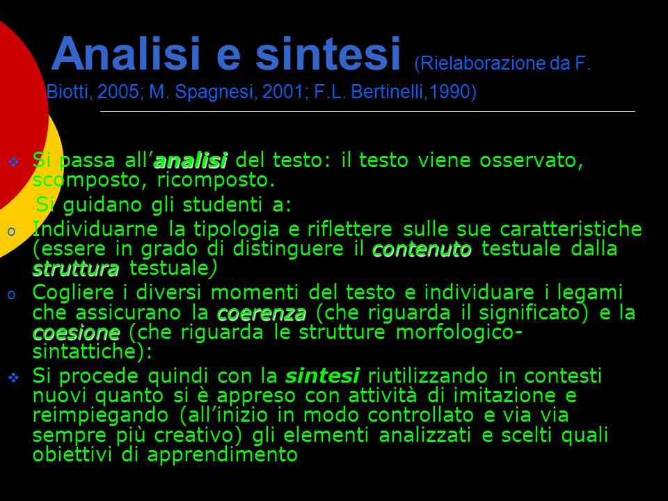Analisi e sintesi (Rielaborazione da F. Biotti, 2005; M. Spagnesi, 2001; F.L. Bertinelli,1990) analisi Si passa allanalisi del testo: il testo viene o