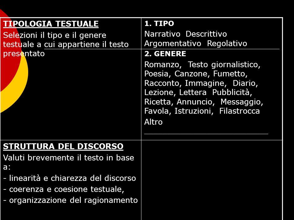 TIPOLOGIA TESTUALE Selezioni il tipo e il genere testuale a cui appartiene il testo presentato 1. TIPO Narrativo Descrittivo Argomentativo Regolativo