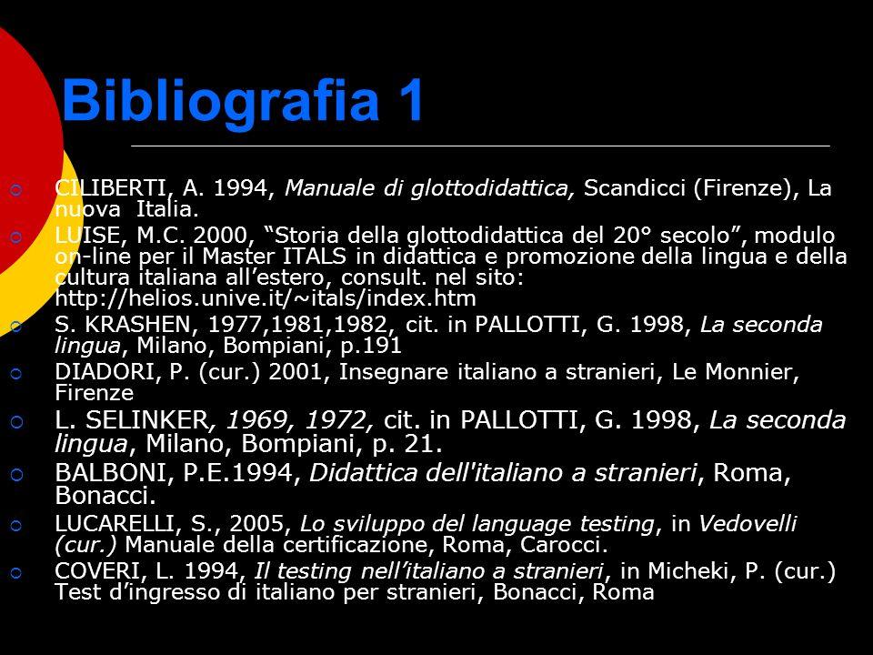 Bibliografia 1 CILIBERTI, A. 1994, Manuale di glottodidattica, Scandicci (Firenze), La nuova Italia. LUISE, M.C. 2000, Storia della glottodidattica de