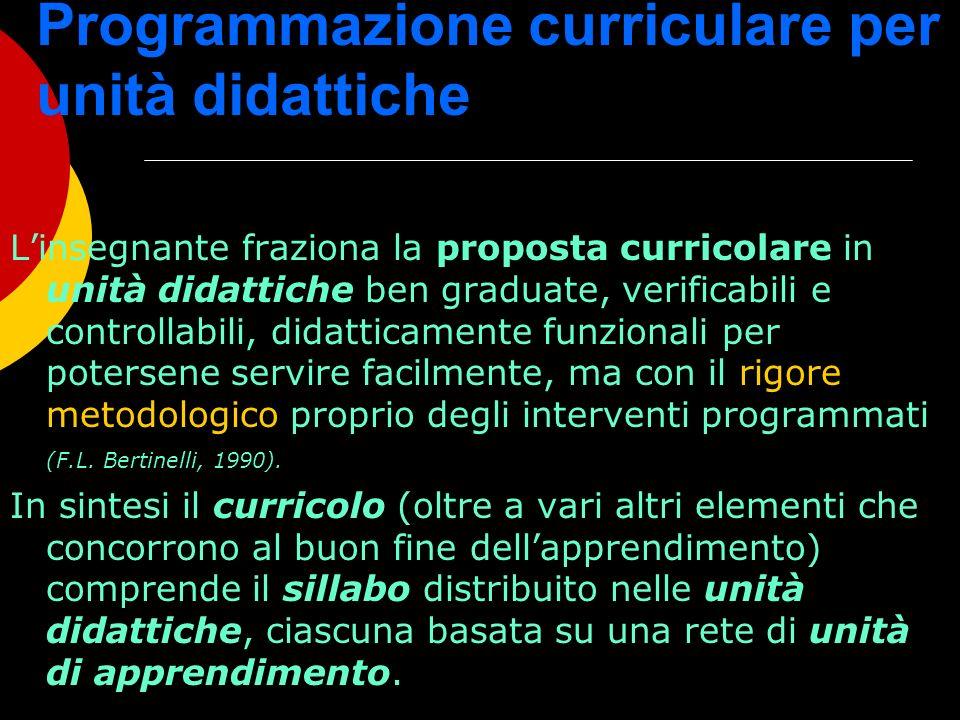Programmazione curriculare per unità didattiche Linsegnante fraziona la proposta curricolare in unità didattiche ben graduate, verificabili e controll