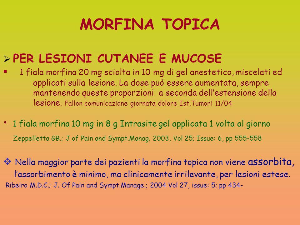 MORFINA TOPICA PER LESIONI CUTANEE E MUCOSE 1 fiala morfina 20 mg sciolta in 10 mg di gel anestetico, miscelati ed applicati sulla lesione. La dose pu