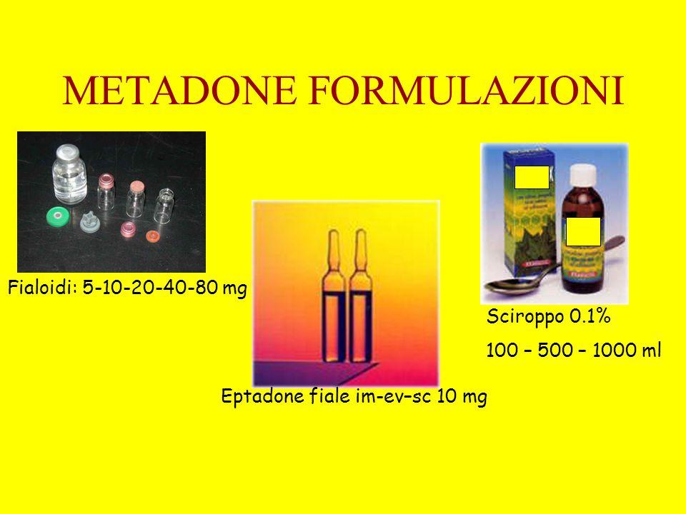 METADONE FORMULAZIONI Fialoidi: 5-10-20-40-80 mg Eptadone fiale im-ev–sc 10 mg Sciroppo 0.1% 100 – 500 – 1000 ml