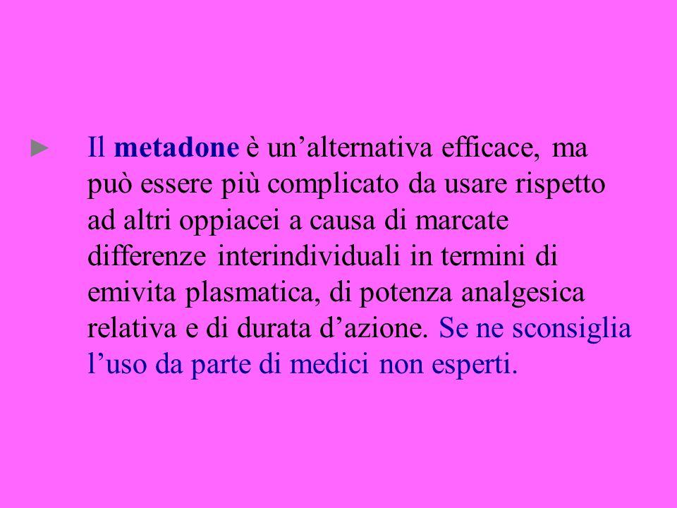 Il metadone è unalternativa efficace, ma può essere più complicato da usare rispetto ad altri oppiacei a causa di marcate differenze interindividuali