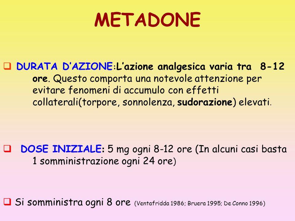 METADONE DURATA DAZIONE : Lazione analgesica varia tra 8-12 ore. Questo comporta una notevole attenzione per evitare fenomeni di accumulo con effetti