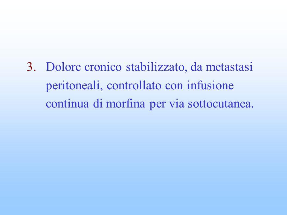3.Dolore cronico stabilizzato, da metastasi peritoneali, controllato con infusione continua di morfina per via sottocutanea.