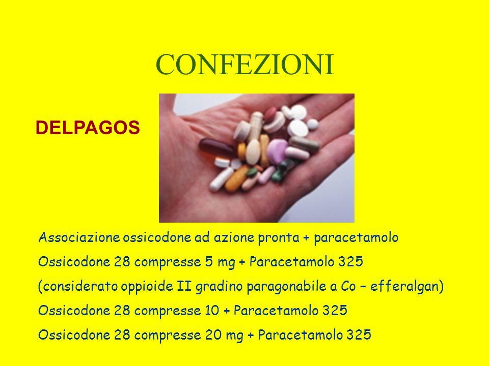 CONFEZIONI Associazione ossicodone ad azione pronta + paracetamolo Ossicodone 28 compresse 5 mg + Paracetamolo 325 (considerato oppioide II gradino pa
