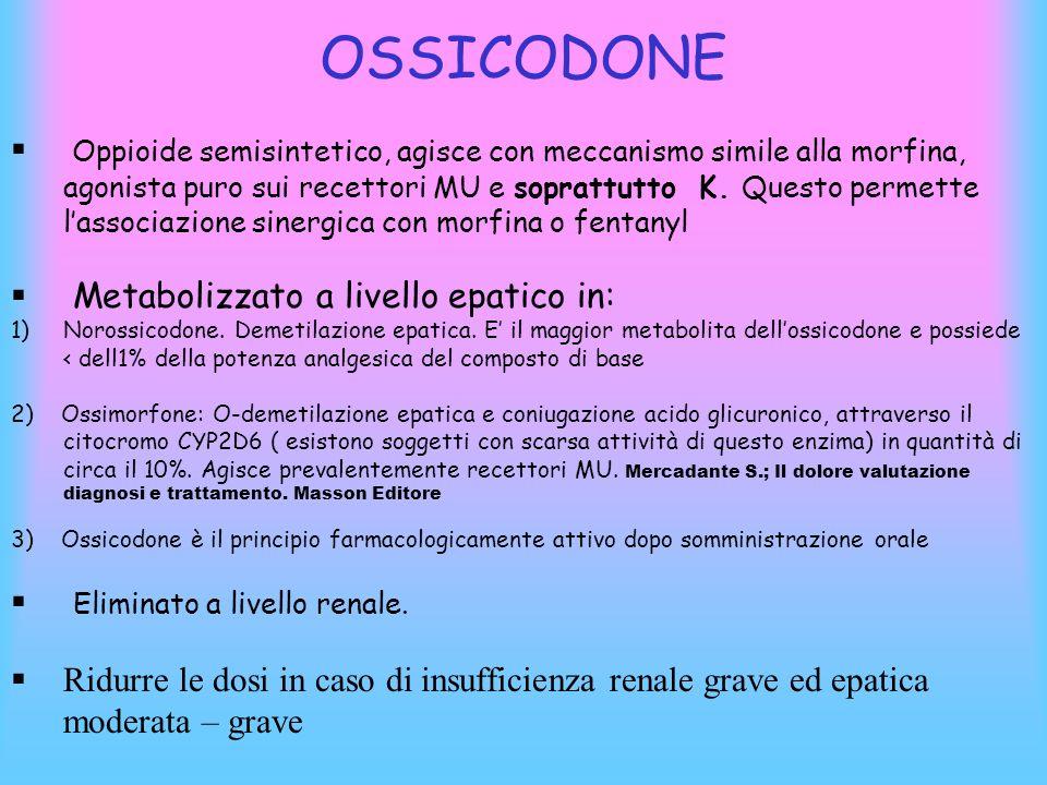 OSSICODONE Oppioide semisintetico, agisce con meccanismo simile alla morfina, agonista puro sui recettori MU e soprattutto K. Questo permette lassocia