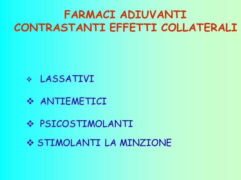 FARMACI ADIUVANTI CONTRASTANTI EFFETTI COLLATERALI LASSATIVI ANTIEMETICI PSICOSTIMOLANTI STIMOLANTI LA MINZIONE
