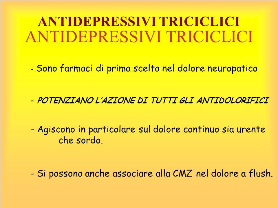ANTIDEPRESSIVI TRICICLICI ANTIDEPRESSIVI TRICICLICI - Sono farmaci di prima scelta nel dolore neuropatico - POTENZIANO LAZIONE DI TUTTI GLI ANTIDOLORI