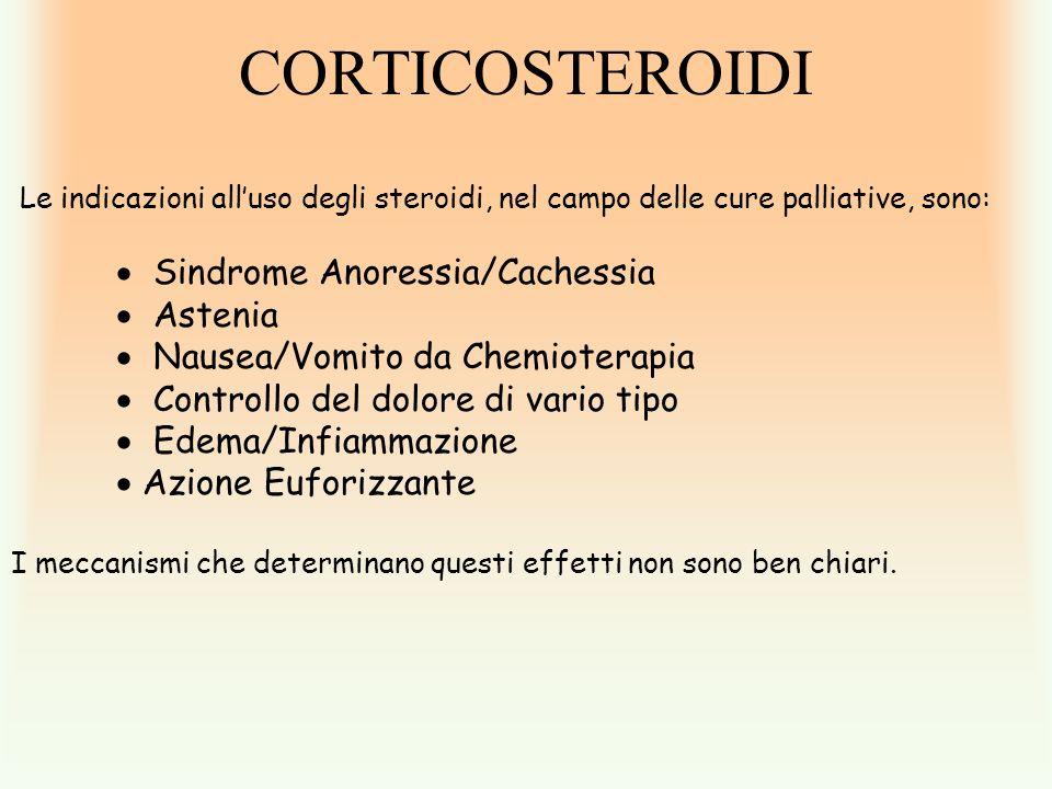 CORTICOSTEROIDI Le indicazioni alluso degli steroidi, nel campo delle cure palliative, sono: Sindrome Anoressia/Cachessia Astenia Nausea/Vomito da Che