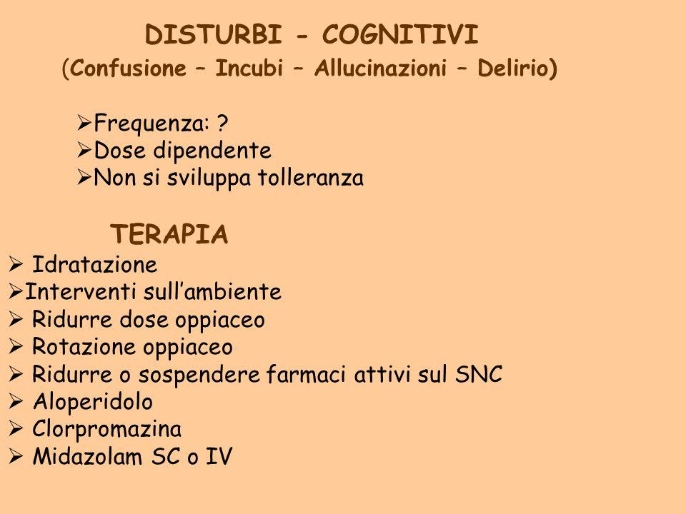 DISTURBI - COGNITIVI (Confusione – Incubi – Allucinazioni – Delirio) Frequenza: ? Dose dipendente Non si sviluppa tolleranza TERAPIA Idratazione Inter