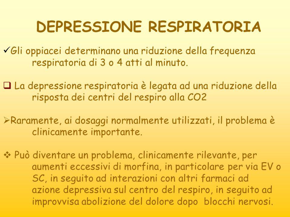DEPRESSIONE RESPIRATORIA Gli oppiacei determinano una riduzione della frequenza respiratoria di 3 o 4 atti al minuto. La depressione respiratoria è le