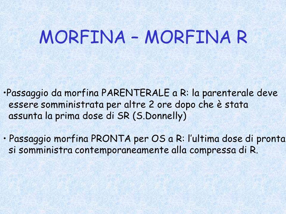 MORFINA – MORFINA R Passaggio da morfina PARENTERALE a R: la parenterale deve essere somministrata per altre 2 ore dopo che è stata assunta la prima d