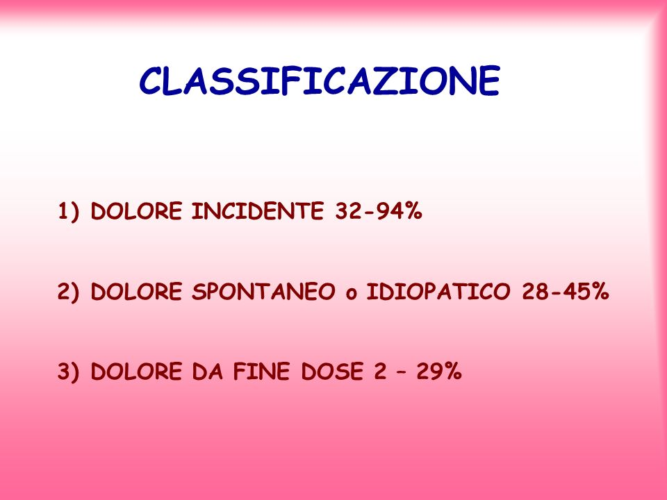 CLASSIFICAZIONE 1)DOLORE INCIDENTE 32-94% 2)DOLORE SPONTANEO o IDIOPATICO 28-45% 3)DOLORE DA FINE DOSE 2 – 29%