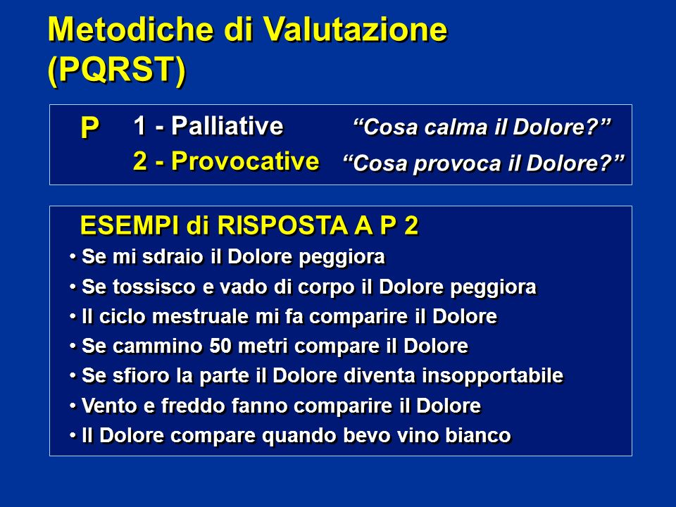 P P 1 - Palliative 2 - Provocative 1 - Palliative 2 - Provocative Cosa calma il Dolore.