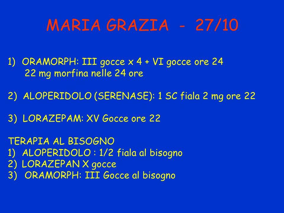MARIA GRAZIA - 27/10 1)ORAMORPH: III gocce x 4 + VI gocce ore 24 22 mg morfina nelle 24 ore 2) ALOPERIDOLO (SERENASE): 1 SC fiala 2 mg ore 22 3) LORAZ