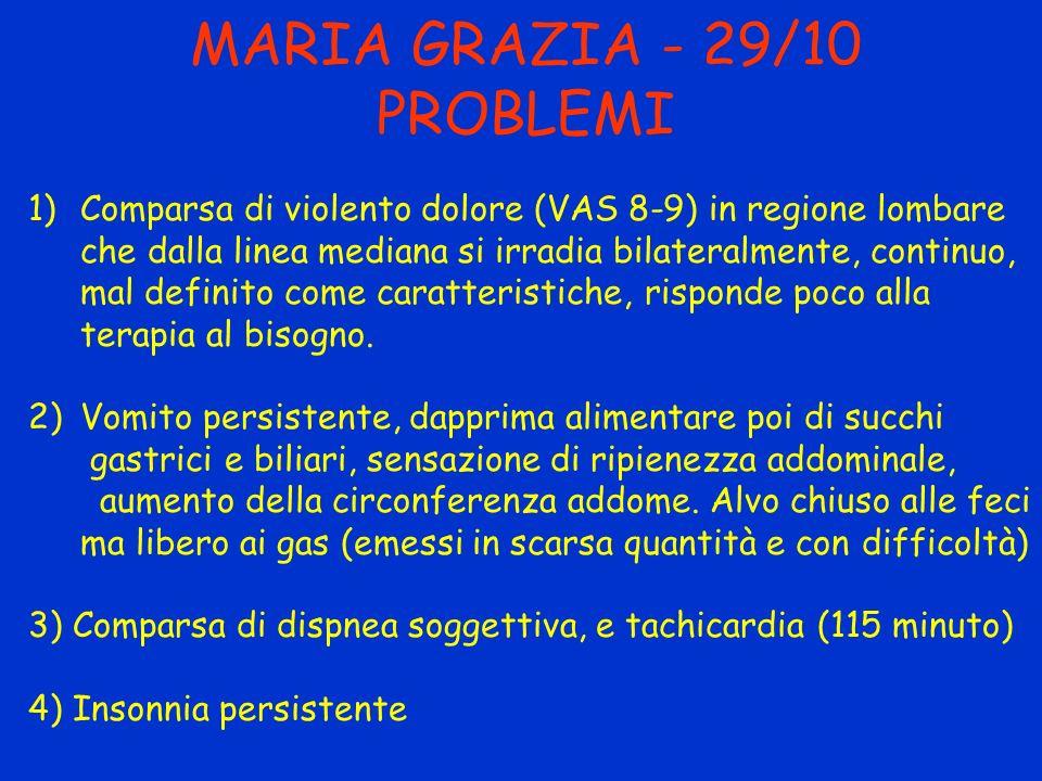 MARIA GRAZIA - 29/10 PROBLEMI 1)Comparsa di violento dolore (VAS 8-9) in regione lombare che dalla linea mediana si irradia bilateralmente, continuo,