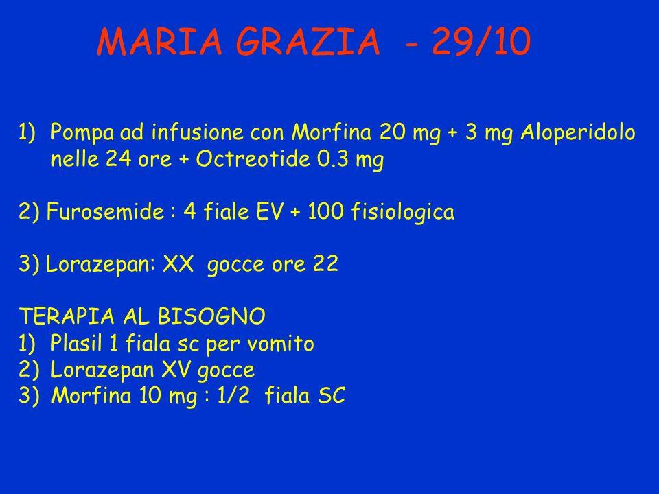 MARIA GRAZIA - 29/10 1)Pompa ad infusione con Morfina 20 mg + 3 mg Aloperidolo nelle 24 ore + Octreotide 0.3 mg 2) Furosemide : 4 fiale EV + 100 fisio