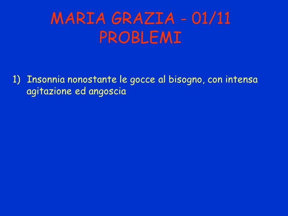MARIA GRAZIA - 01/11 PROBLEMI 1)Insonnia nonostante le gocce al bisogno, con intensa agitazione ed angoscia