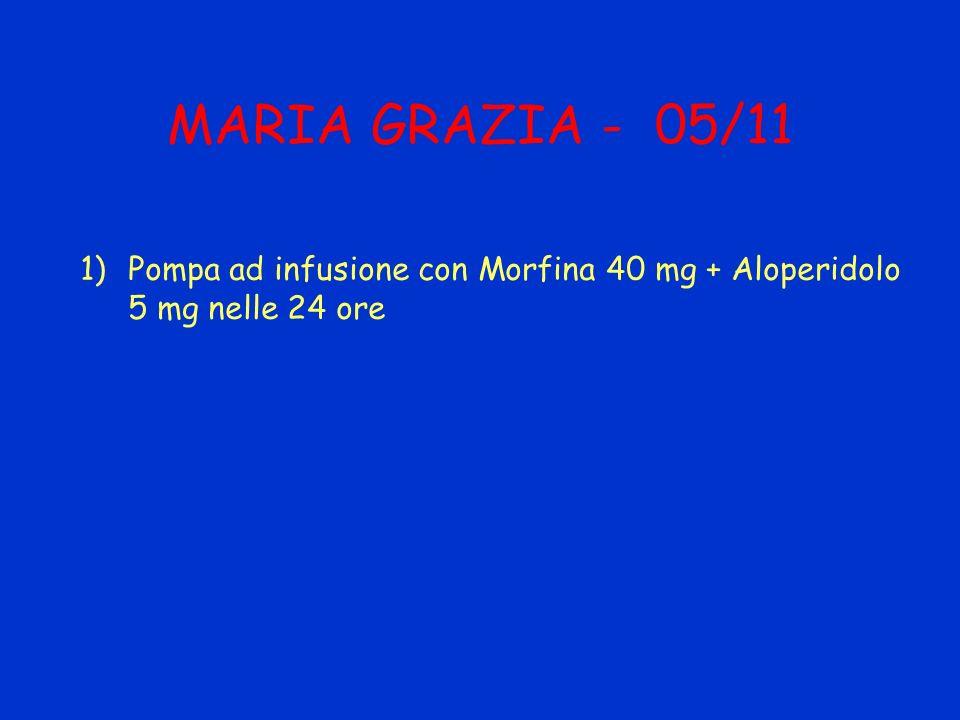 MARIA GRAZIA - 05/11 1)Pompa ad infusione con Morfina 40 mg + Aloperidolo 5 mg nelle 24 ore