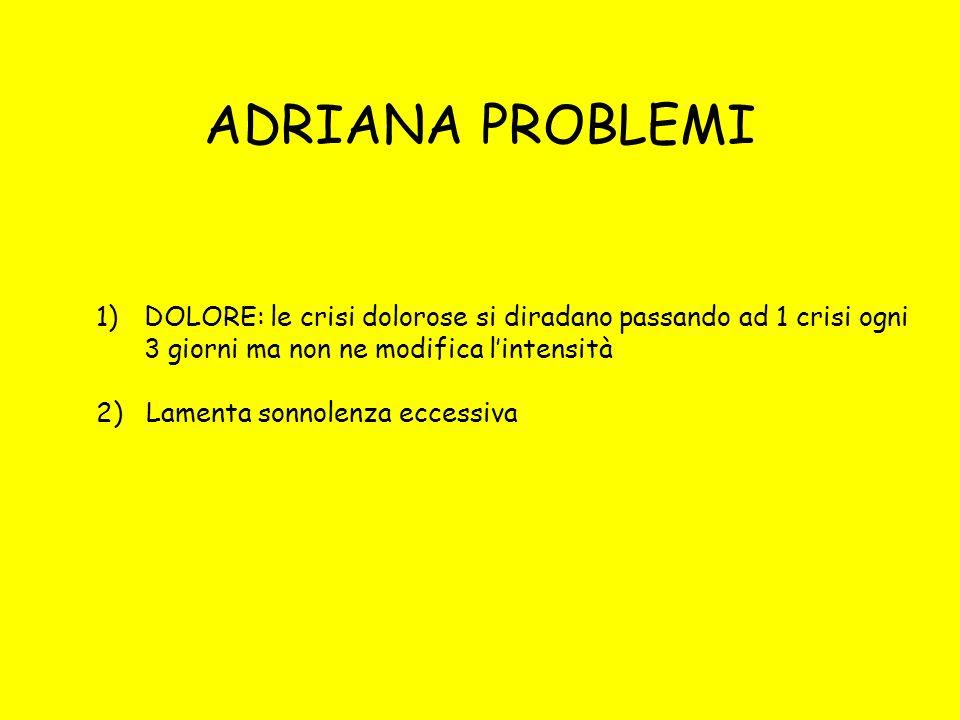 ADRIANA PROBLEMI 1)DOLORE: le crisi dolorose si diradano passando ad 1 crisi ogni 3 giorni ma non ne modifica lintensità 2) Lamenta sonnolenza eccessi