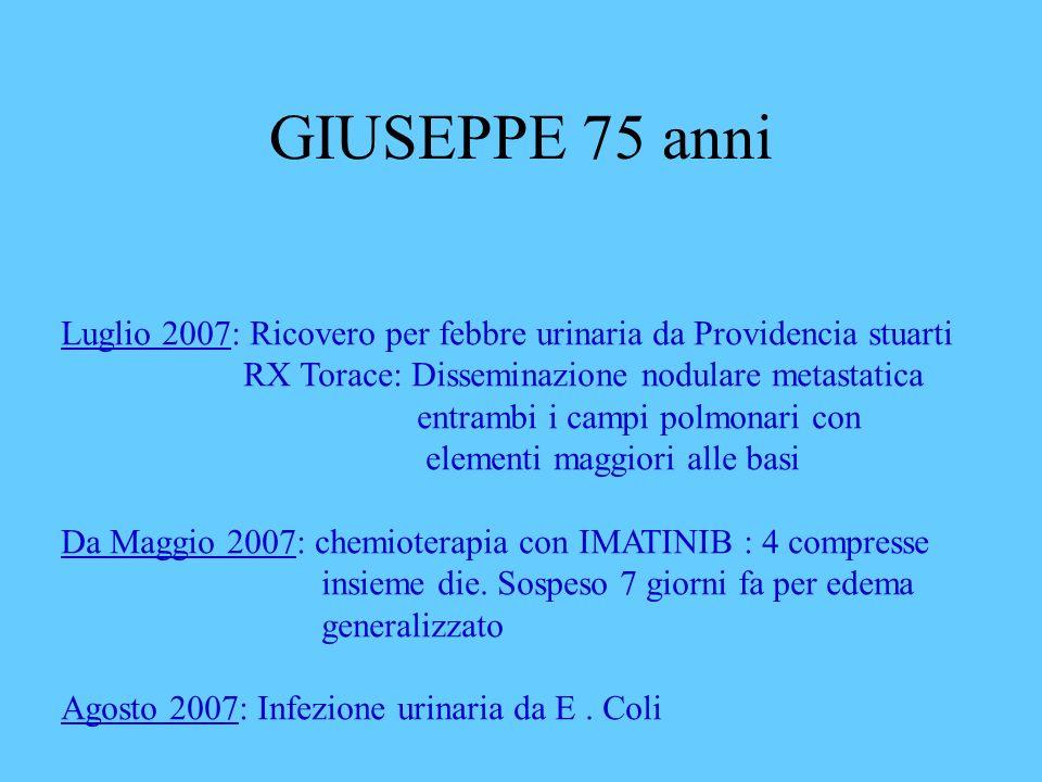 GIUSEPPE 75 anni Luglio 2007: Ricovero per febbre urinaria da Providencia stuarti RX Torace: Disseminazione nodulare metastatica entrambi i campi polm