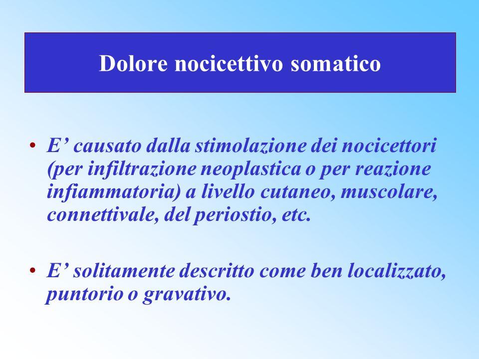 Dolore nocicettivo somatico E causato dalla stimolazione dei nocicettori (per infiltrazione neoplastica o per reazione infiammatoria) a livello cutane