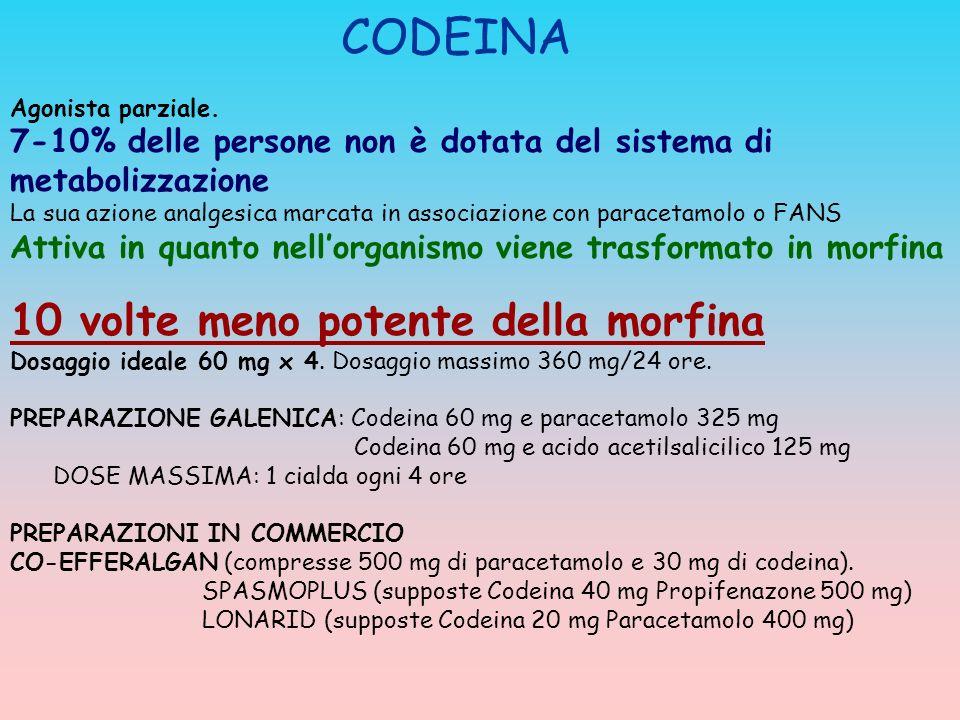 CODEINA Agonista parziale. 7-10% delle persone non è dotata del sistema di metabolizzazione La sua azione analgesica marcata in associazione con parac