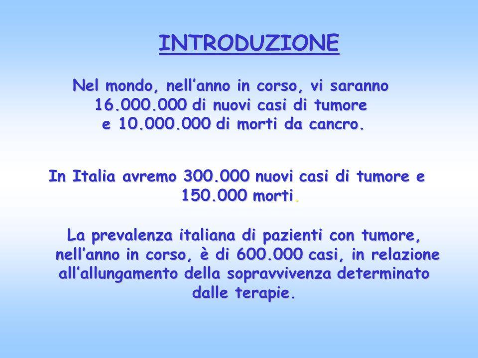Nel mondo, nellanno in corso, vi saranno 16.000.000 di nuovi casi di tumore e 10.000.000 di morti da cancro. In Italia avremo 300.000 nuovi casi di tu