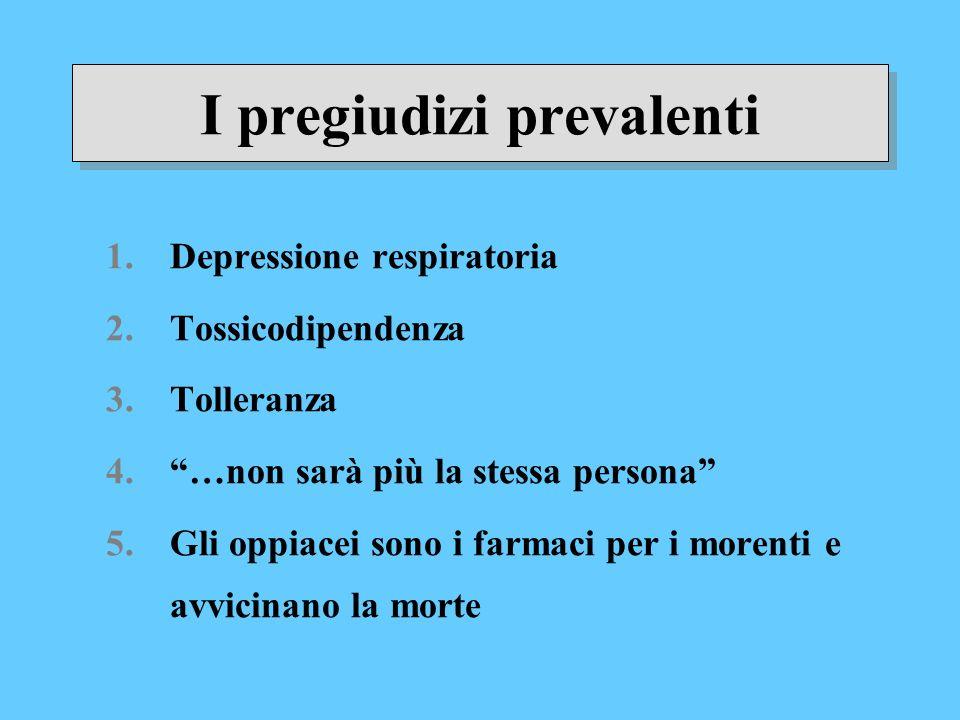I pregiudizi prevalenti 1.Depressione respiratoria 2.Tossicodipendenza 3.Tolleranza 4.…non sarà più la stessa persona 5.Gli oppiacei sono i farmaci pe